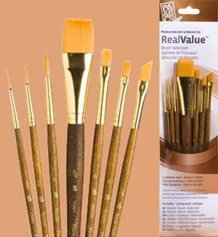 "Princeton RealValue Brush Pack Gold Taklon 7pk- 2/0, 2, 4, 3/4"", 6, 4, & 1/4"""