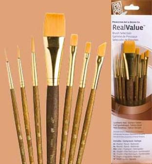 """Princeton RealValue Brush Pack Gold Taklon 7pk- 2/0, 2, 4, 3/4"""", 6, 4, & 1/4"""""""