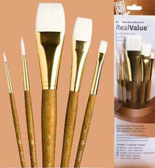"""Princeton RealValue Brush Pack White Taklon 5pk - 1, 4, 1"""", 5/8"""", & 6"""