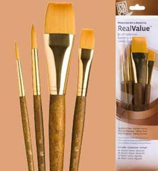 Princeton RealValue Brush Pack Gold Taklon Wash 4pk