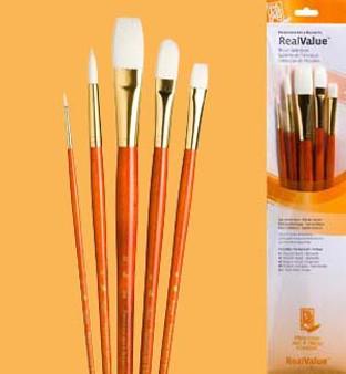 Princeton RealValue Brush Pack White Taklon 5pk - 1, 6, 12, 8, & 6