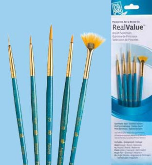 Princeton RealValue Brush Pack Gold Taklon 5pk - 20/0, 3/0, 3, 0, & 12/0
