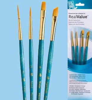 """Princeton RealValue Brush Pack Gold Taklon 4pk - 2, 3, 6, & 1/4"""""""