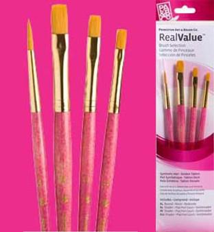 Princeton RealValue Brush Pack Gold Taklon 4pk