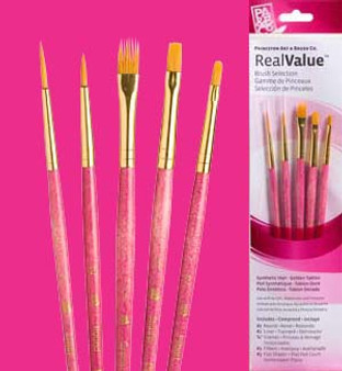 Princeton RealValue Brush Pack Gold Taklon 5pk
