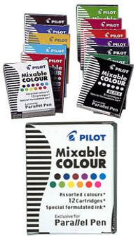 Pilot Parallel Pen Cartridge 12pk Rainbow Assortment