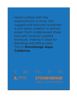 Stonehenge Aqua 140lb Watercolor Paper Cold Press Block 12x16