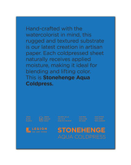 Stonehenge Aqua 140lb Watercolor Paper Cold Press Block 9x12