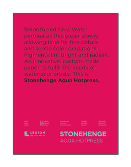 Stonehenge Aqua 140lb. Watercolor Paper Hot Press Block 12x16