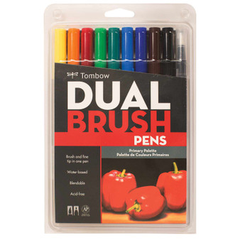 Tombow Dual Brush Marker 10 Set Primary
