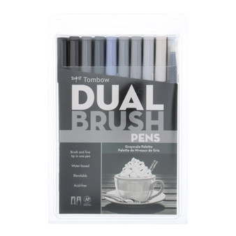 Tombow Dual Brush Marker 10 Set Grayscale