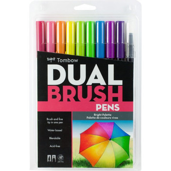 Tombow Dual Brush Pen Set of 10 Brights