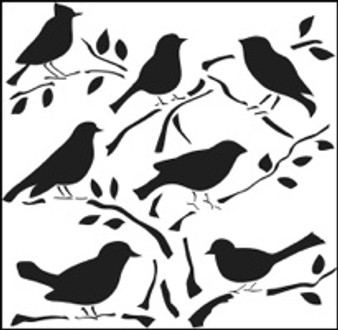 "The Crafter's Workshop Stencil Template 6x6"" Birds"