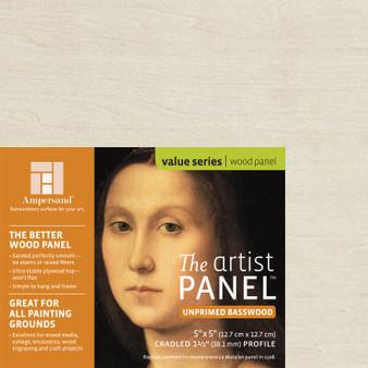Ampersand Artist Series Unprimed Basswood Panel 1.5-Inch 5x5