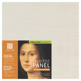 Ampersand Artist Series Unprimed Basswood Panel 1.5-Inch 12x12