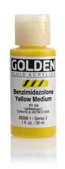 Golden Acrylic Fluid 1oz Benzimidazolone Yellow Medium