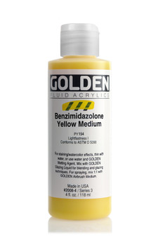 Golden Acrylic Fluid 4oz Benzimidazolone Yellow Medium