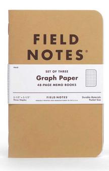 "Field Notes Original Kraft Graph 3 Pack of 3.5x5.5"" Memo Books"