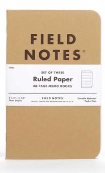 "Field Notes Original Kraft Lined 3 Pack of 3.5x5.5"" Memo Books"
