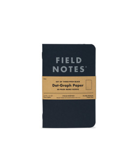"""Field Notes Pitch Black Dot-Graph 3 Pack of 3.5x5.5"""" Memo Books"""