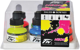 Daler-Rowney Fw Ink 1oz Set of 6 Fluorescent Colors