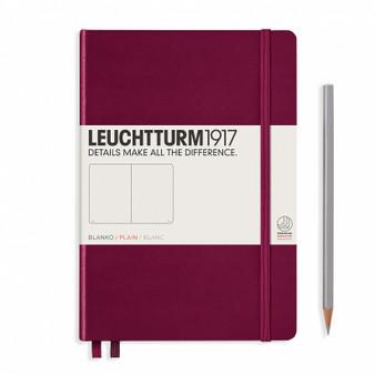 Leuchtturm 1917 Hardcover Blank Notebook A5 Medium Port Red