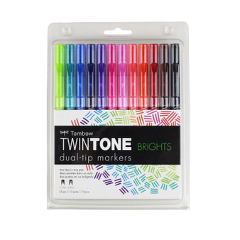 Tombow TwinTone Marker Set of 12 Brights