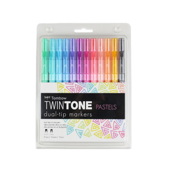 Tombow TwinTone Marker Set of 12 Pastel