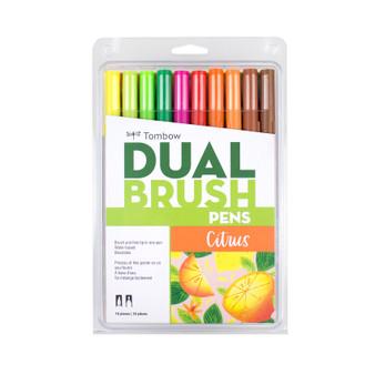 Tombow Dual Brush Pen Art Markers 10-Pack Citrus