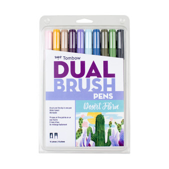 Dual Brush Pen Art Markers 10-Pack Desert Flora