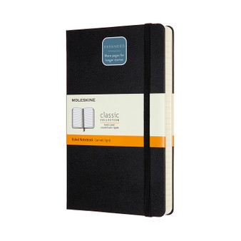 Moleskine Classic Hardcover Large Ruled Black Expanded Notebook