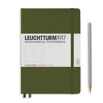 Leuchtturm 1917 Hardbound Dotted Notebook Medium Size Army