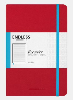 Endless Recorder Notebook Ruled Crimson Sky Red