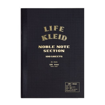 Kleid Life Noble Note A5 Notebook Black with Cream Grid Paper