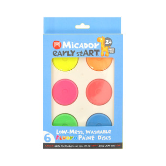 Micador early stART Low-Mess Washable 6-Color Paint Disc Set Fluorescent