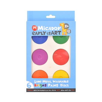 Micador early stART Low-Mess Washable 6-Color Paint Disc Set Bright