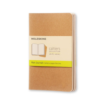 Moleskine Cahier 3pk Kraft Pocket Plain