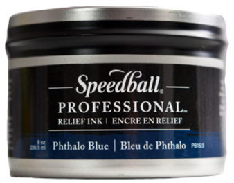 Speedball Professional Relief Ink 8oz Phthalo Blue