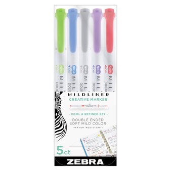 Zebra Mildliner Set of 5 Soft Colors
