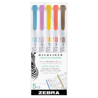 Zebra Mildliner Set of 5 Warm Colors