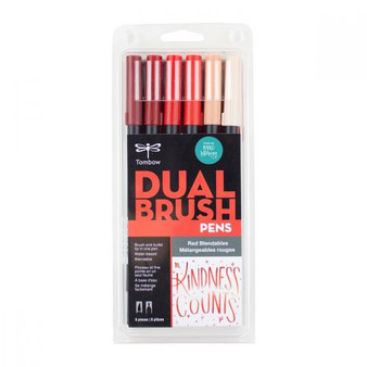 Tombow Dual Brush Pen Art Marker Blendables 6-Pack Red