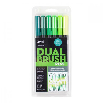 Tombow Dual Brush Pen Art Marker Blendables 6-Pack Green