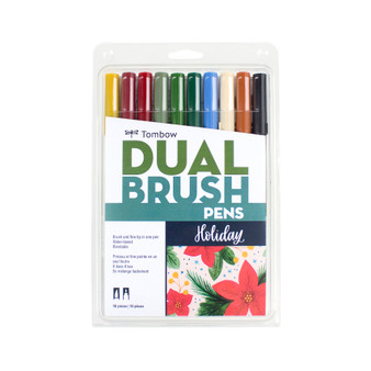 Tombow Dual Brush Marker Set of 10 Holiday