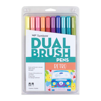 Tombow Dual Brush Marker Set of 10 Retro
