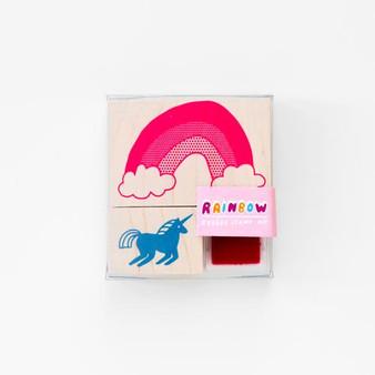 Yellow Owl Workshop Rubber Stamp Kit Unicorn & Rainbow