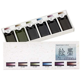 Aitoh Boku-Undo Sumi Watercolor Paint 6 Shadow Colors Set from Japan