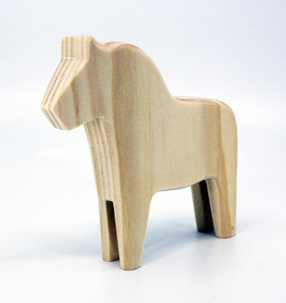"Blank Wooden Dala Horse 4.5"""
