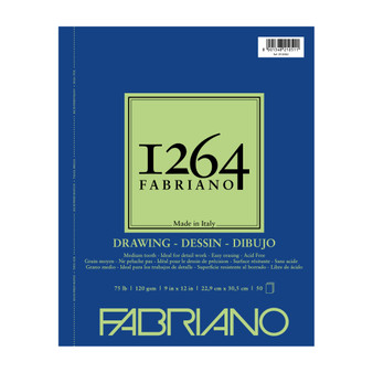 Fabriano 1264 Drawing Wirebound Pad 75lb 9X12 50 Sheets