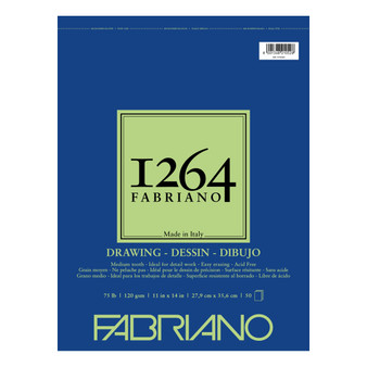 Fabriano 1264 Drawing Wirebound Pad 75lb 11X14 50 Sheets