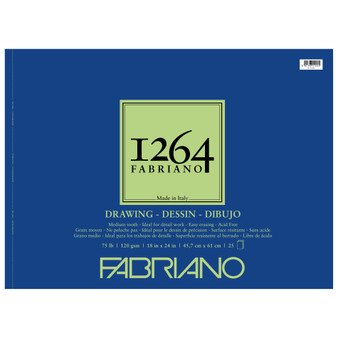 Fabriano 1264 Drawing Wirebound Pad 75lb 18X24 25 Sheets